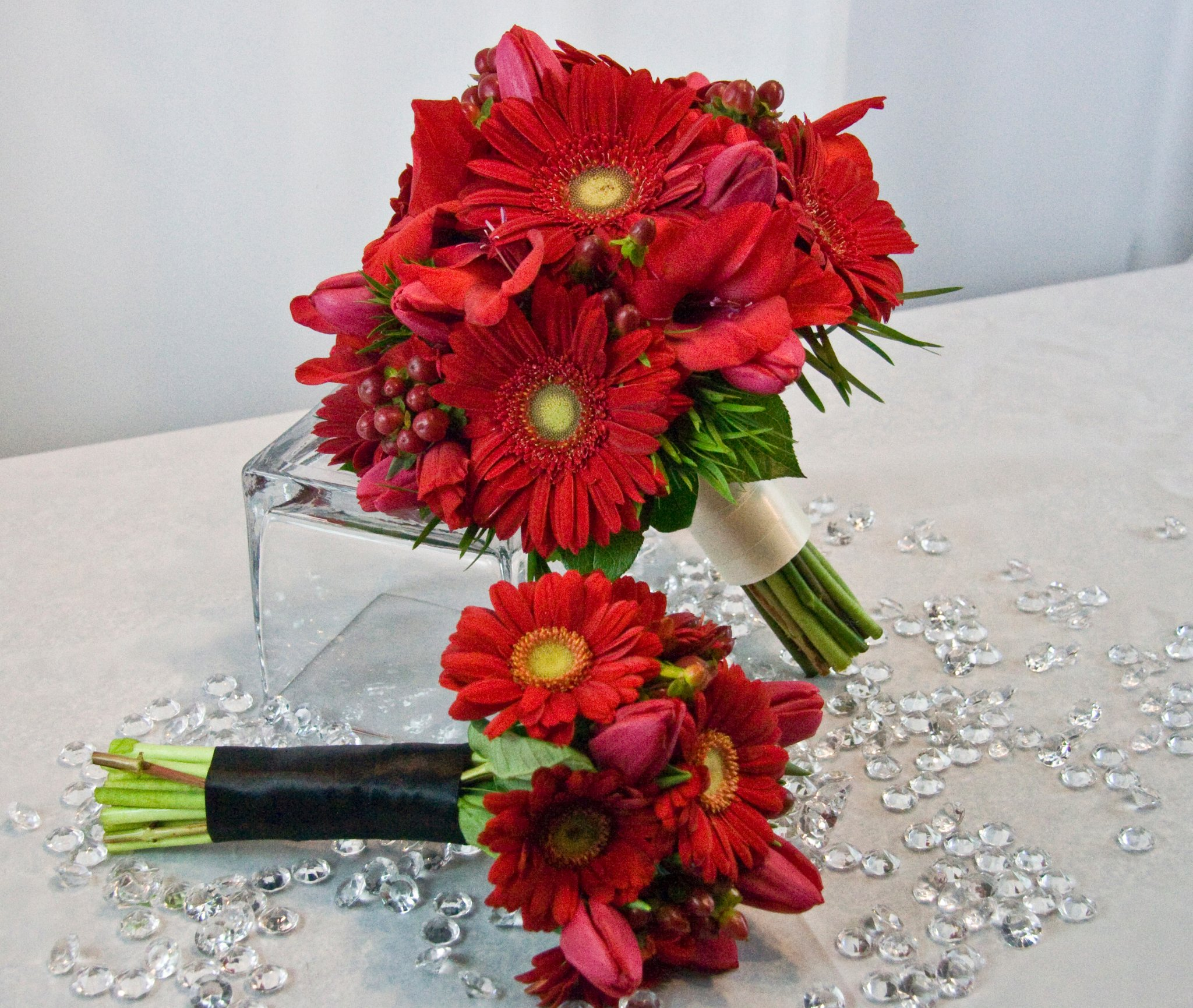 red gerbera daisy wedding bouquets photo - 1