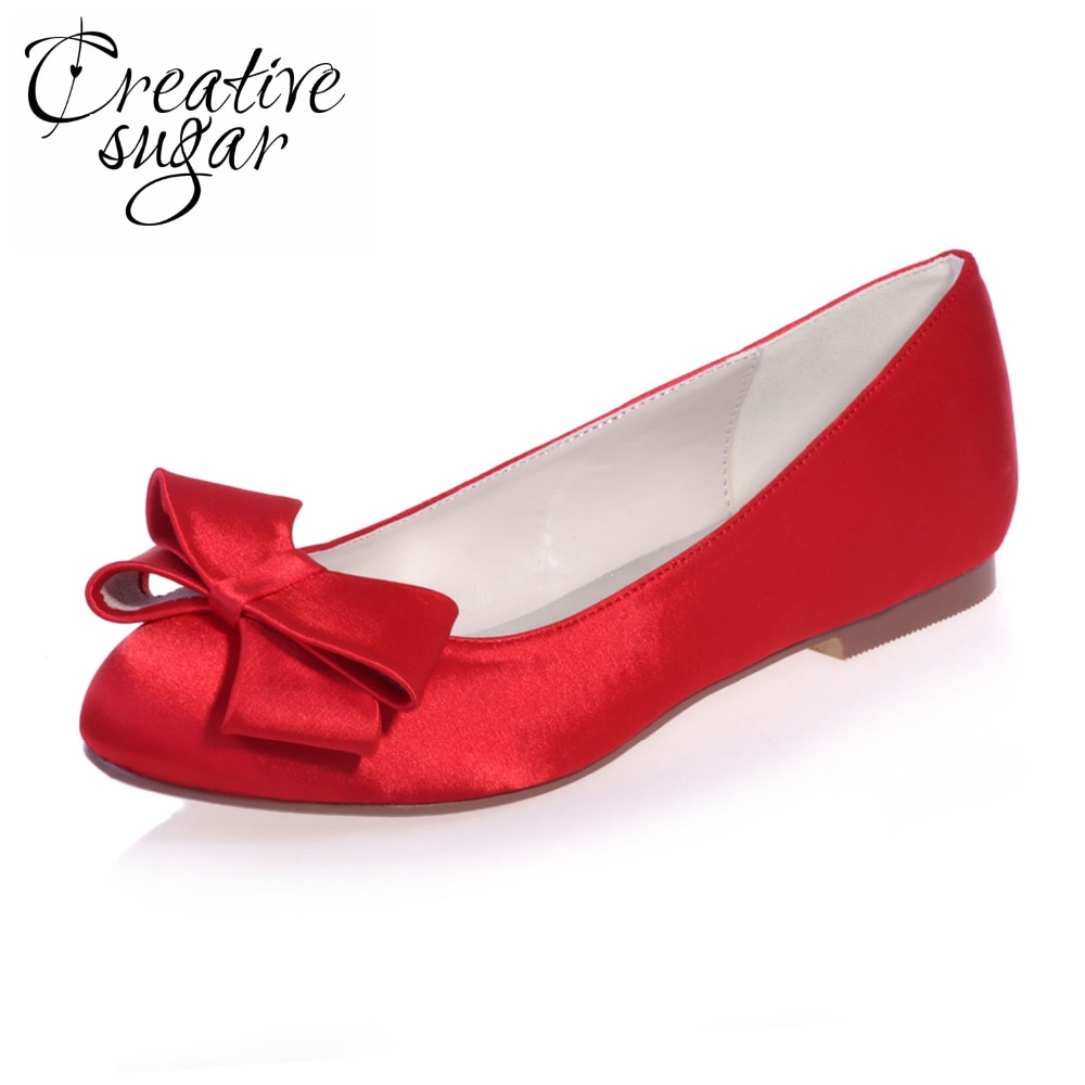 red satin shoes for wedding photo - 1