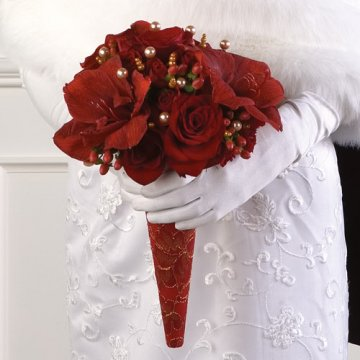 red white and black wedding bouquets photo - 1