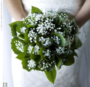 roses and babys breath wedding bouquets photo - 1