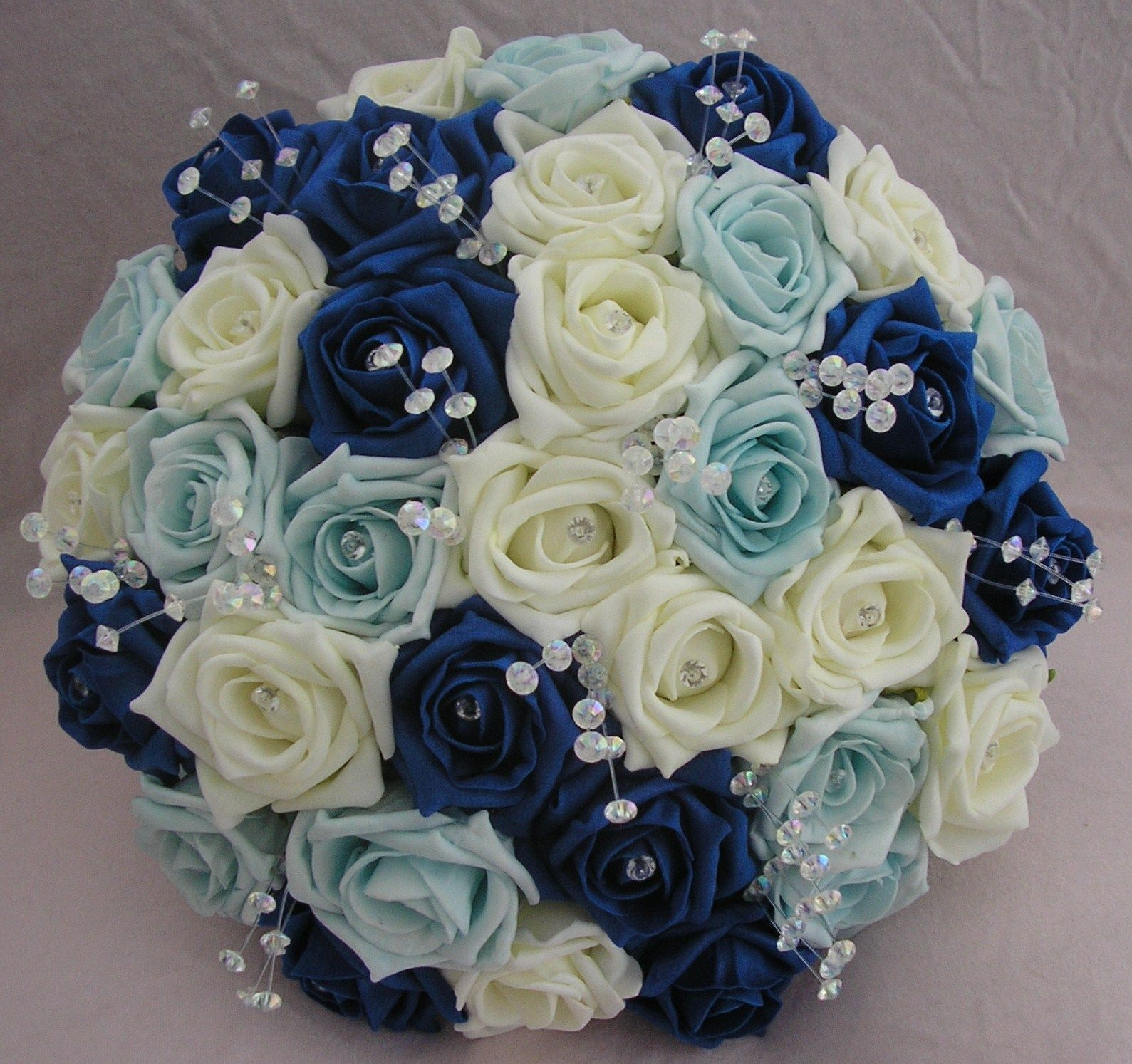 royal blue and white wedding bouquets photo - 1