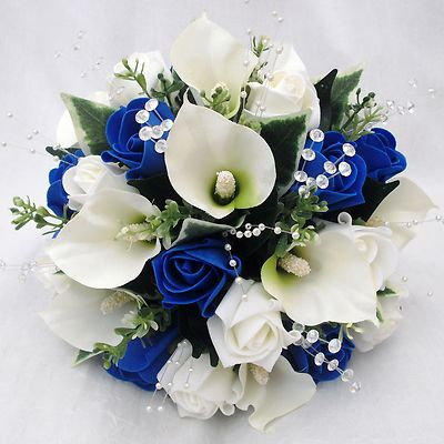 royal blue flowers for wedding photo - 1