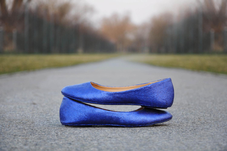 royal blue wedding shoes flats photo - 1