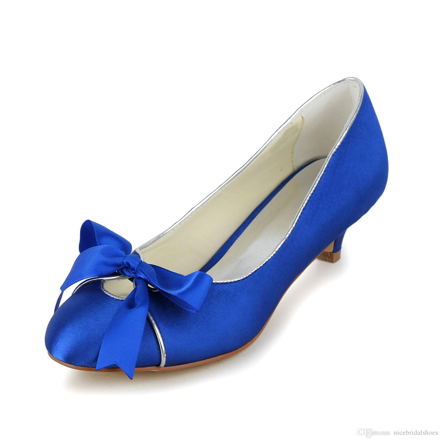 royal blue wedding shoes low heel photo - 1