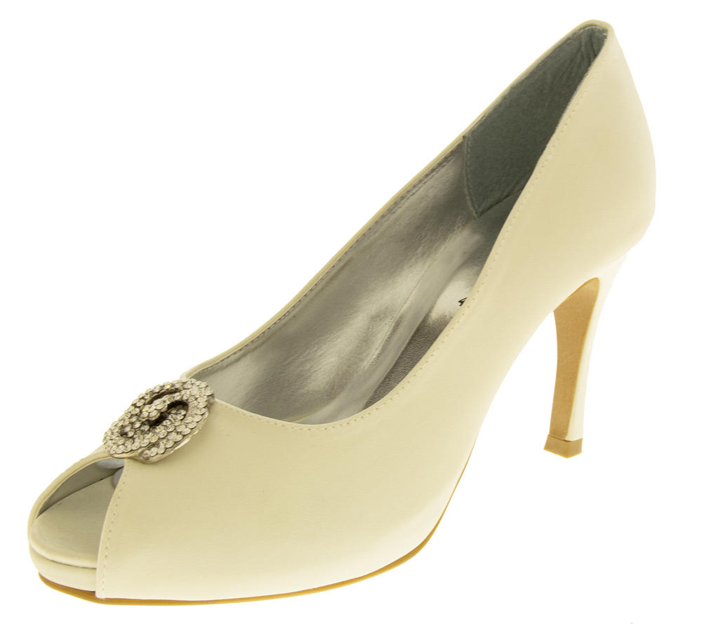 satin wedding shoes low heel photo - 1
