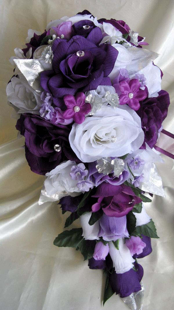 silk flower bouquets for wedding photo - 1