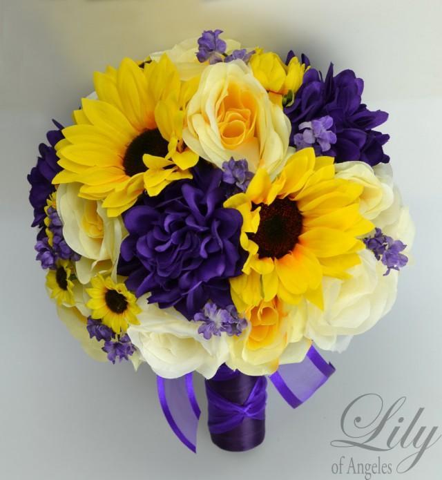 silk sunflower wedding bouquets photo - 1
