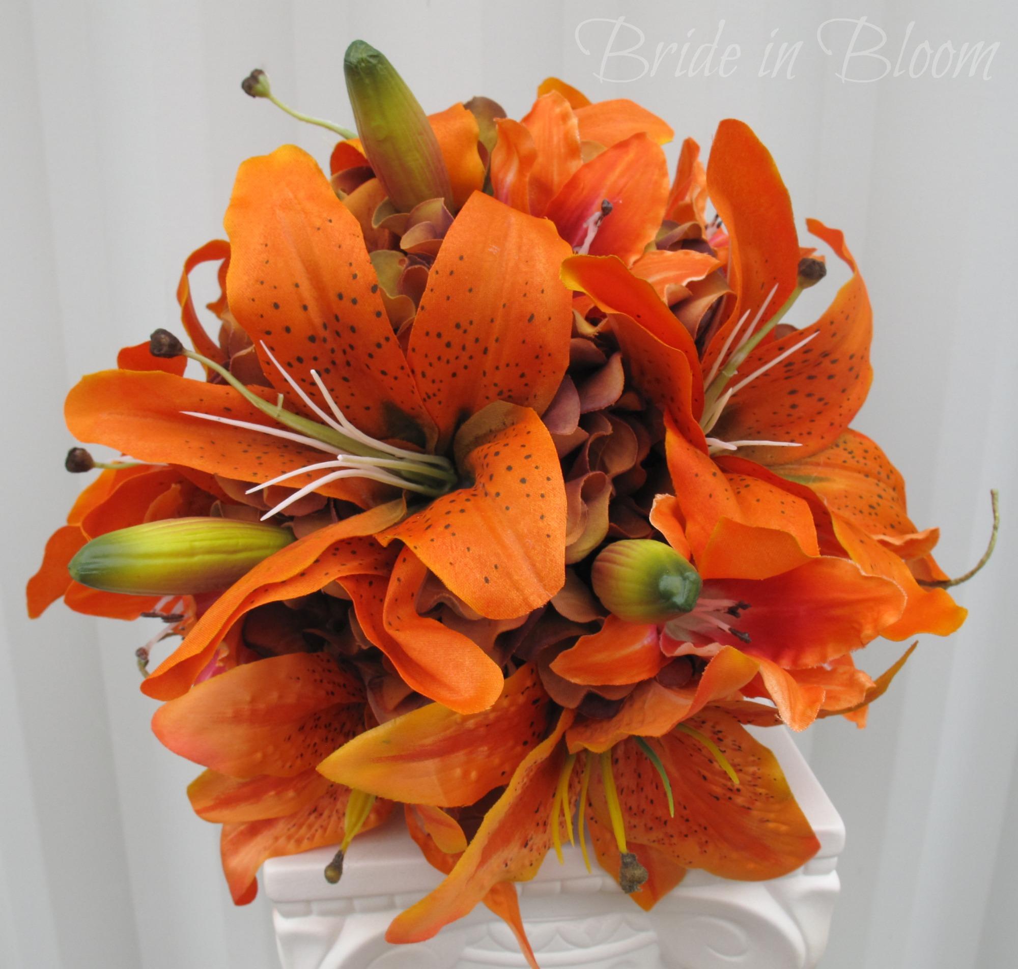 silk tiger lily wedding bouquets photo - 1