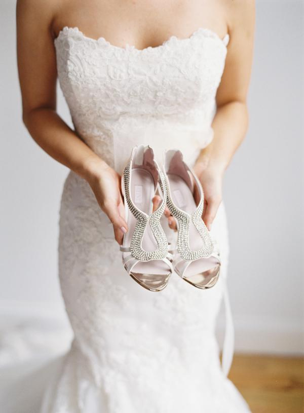 silver flats shoes wedding photo - 1