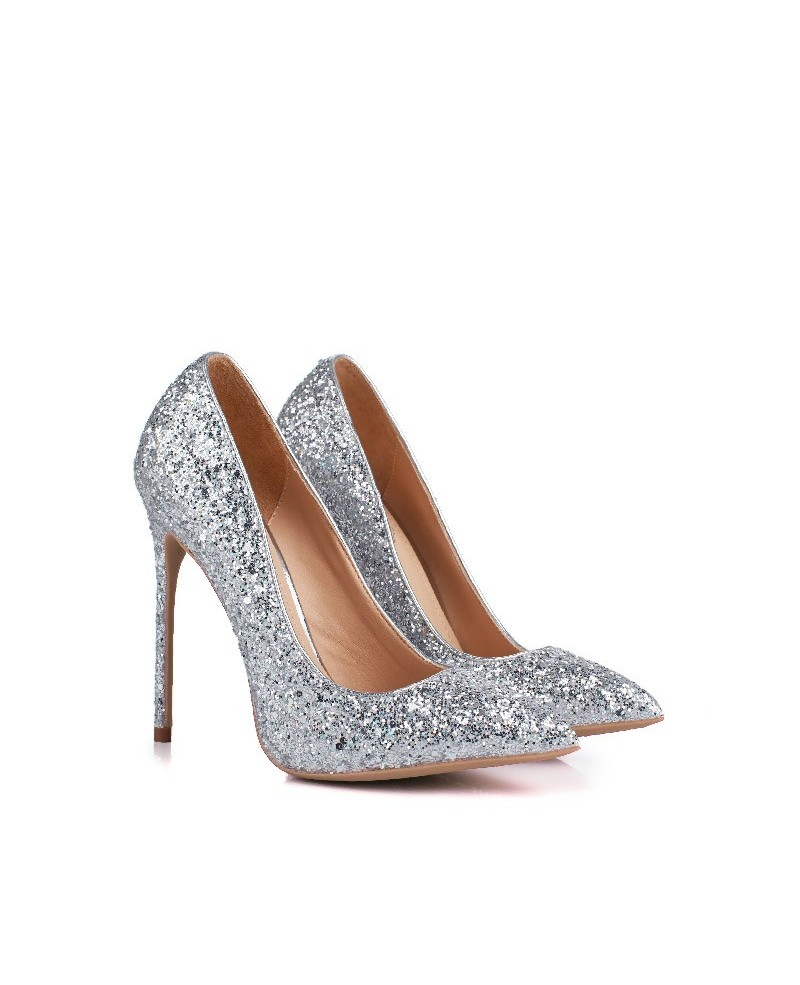 silver glitter wedding shoes photo - 1