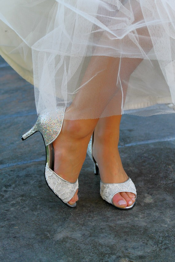 silver grey shoes for wedding photo - 1