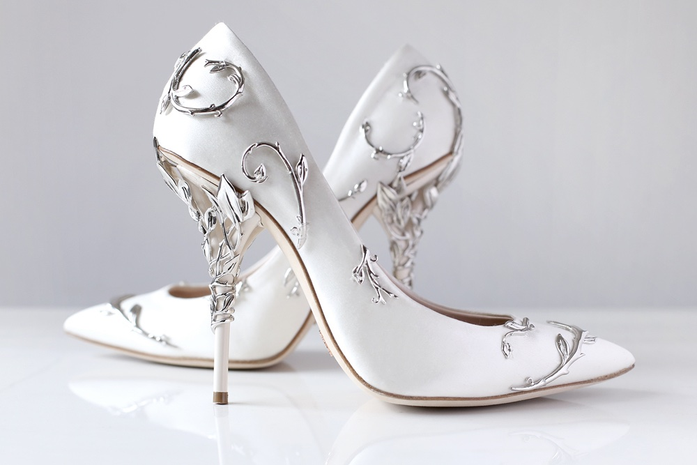 silver high heel shoes for wedding photo - 1