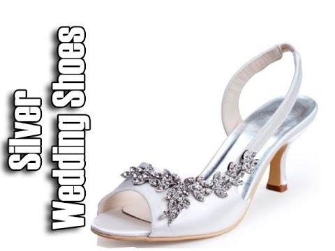 silver low heel wedding shoes photo - 1