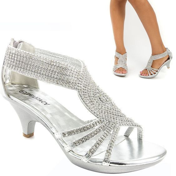 silver strappy shoes wedding photo - 1