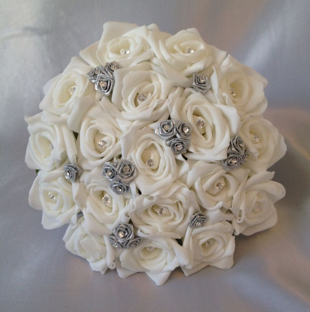 silver wedding bouquets photo - 1