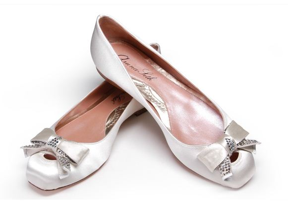 silver wedding shoes flats photo - 1