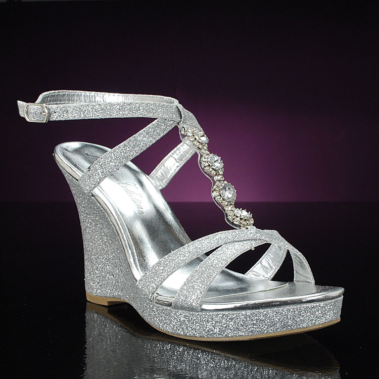silver wedge bridal shoes photo - 1