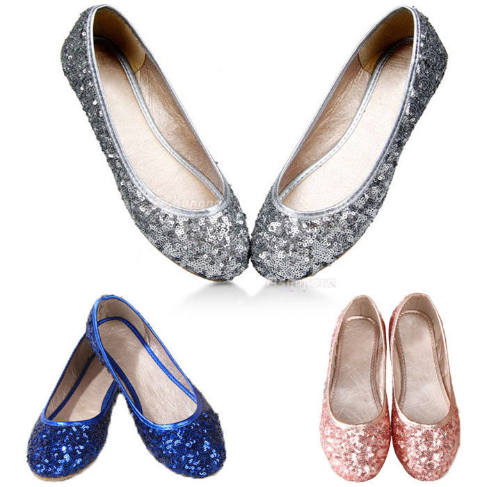 sparkly flat shoes for wedding photo - 1