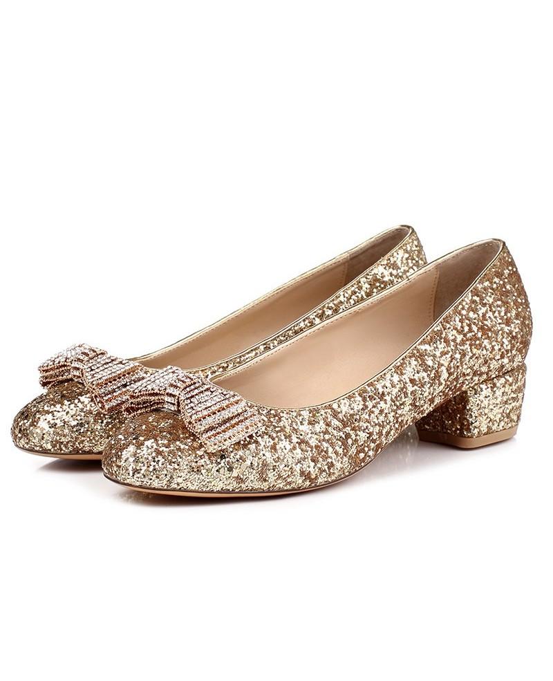 sparkly wedding shoes low heel photo - 1