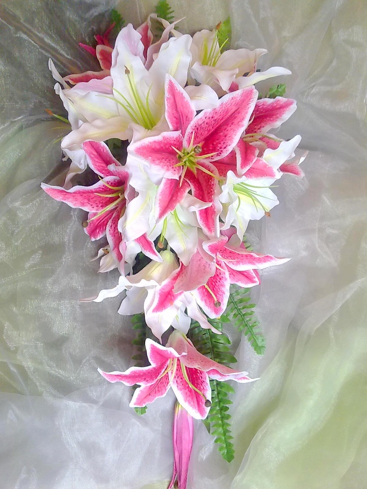 star gazer lily wedding bouquet photo - 1