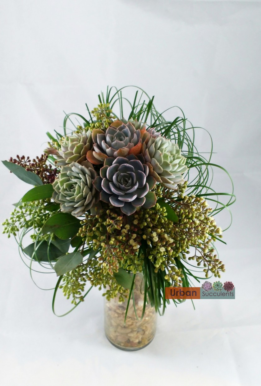 succulent wedding bouquet photo - 1