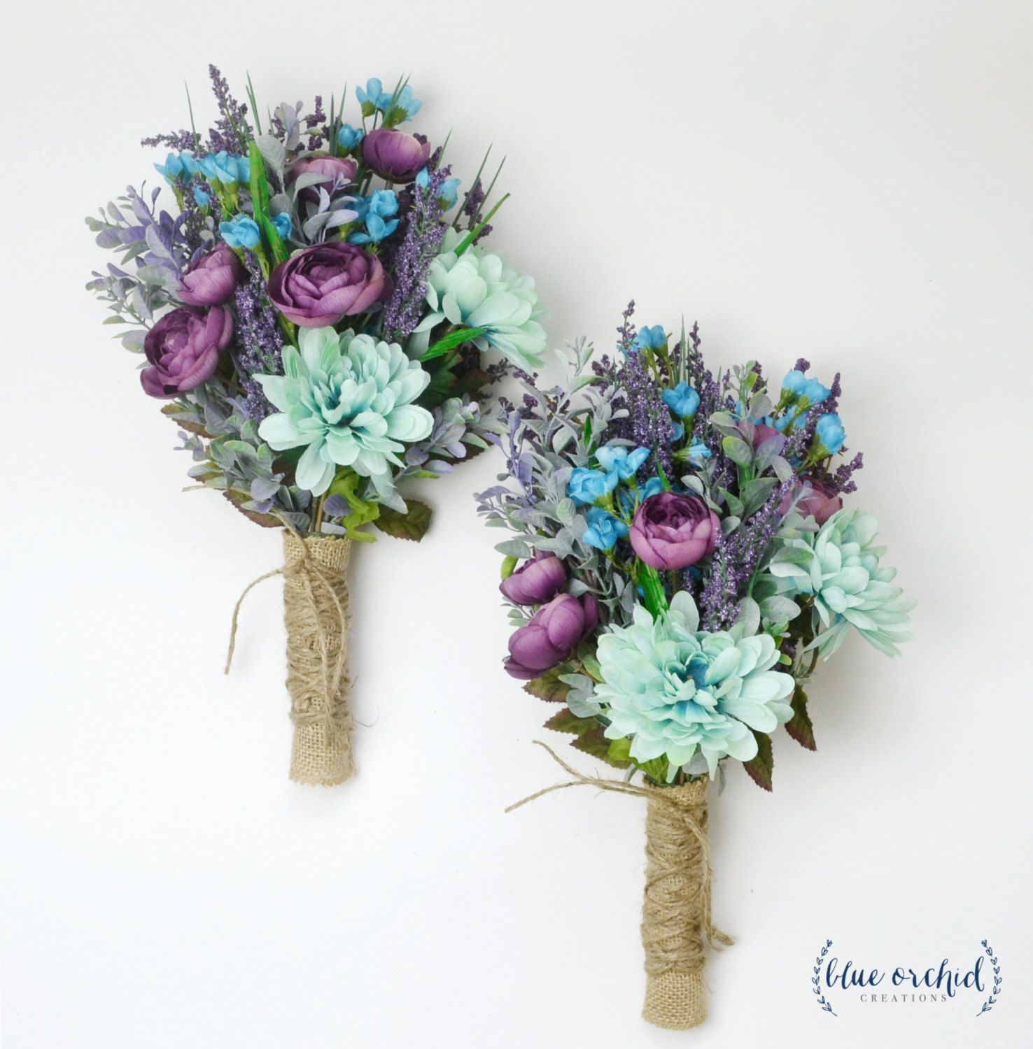 teal and purple wedding bouquets photo - 1