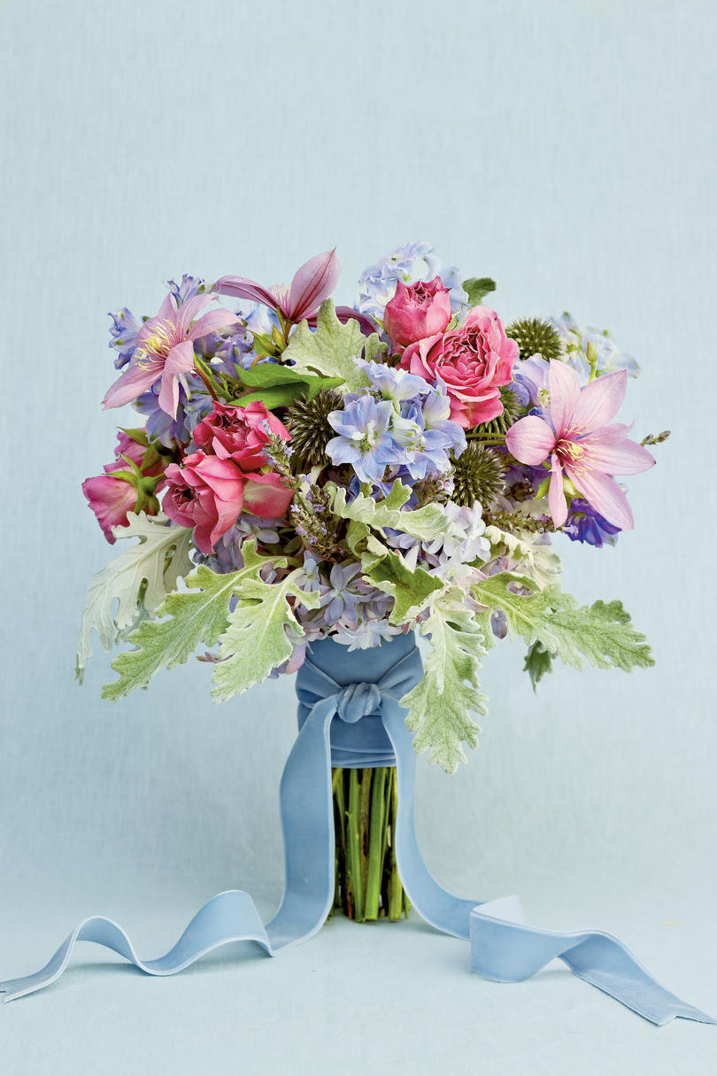 teal and purple wedding flowers photo - 1