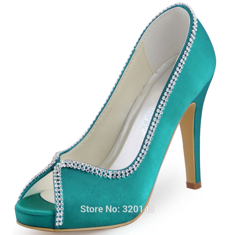 teal bridal shoes photo - 1