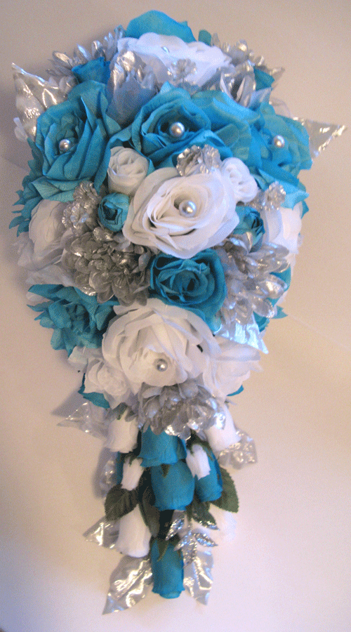 teal wedding bouquets photo - 1