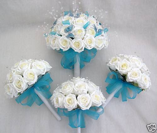 teal wedding flowers photo - 1