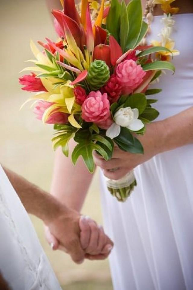 tropical flower bouquets wedding photo - 1