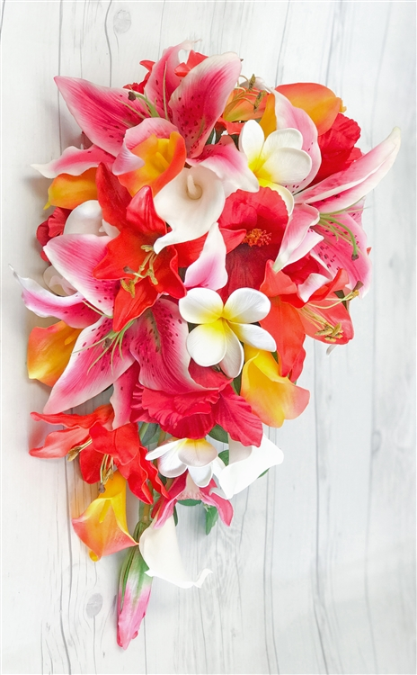 tropical silk wedding bouquets photo - 1