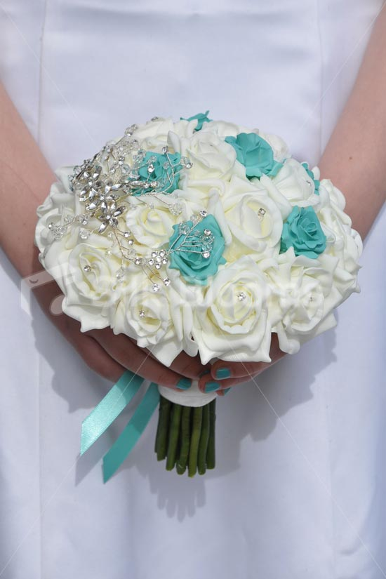turquoise and ivory wedding bouquets photo - 1