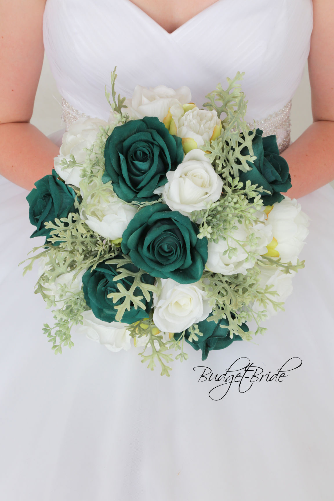 turquoise and red wedding bouquets photo - 1