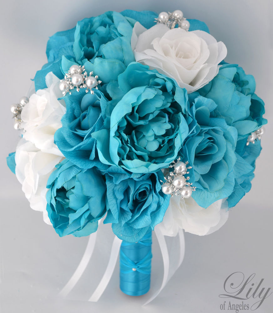 turquoise wedding bouquet photo - 1