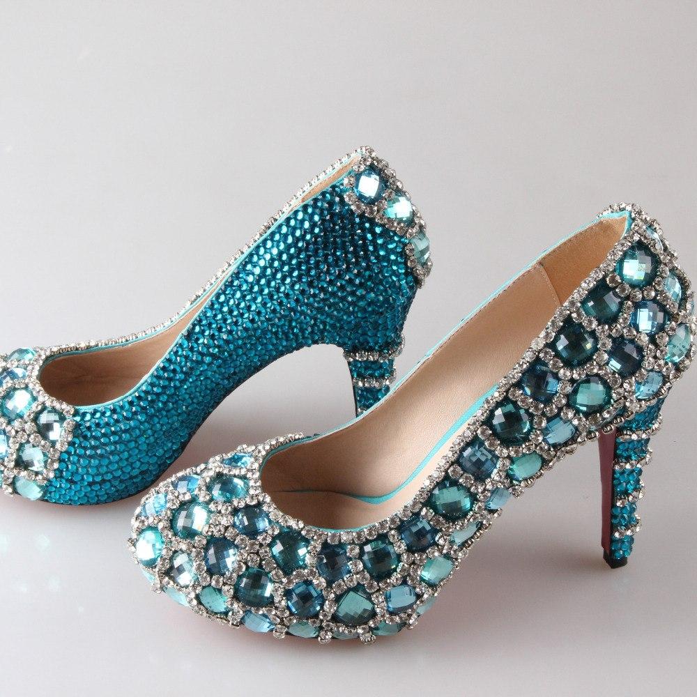 turquoise wedding shoes low heel photo - 1