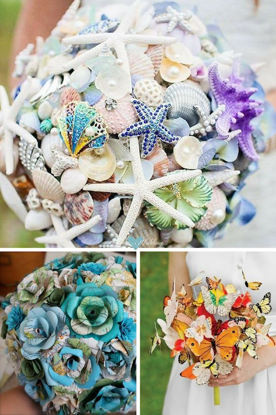 unique wedding bouquets without flowers photo - 1