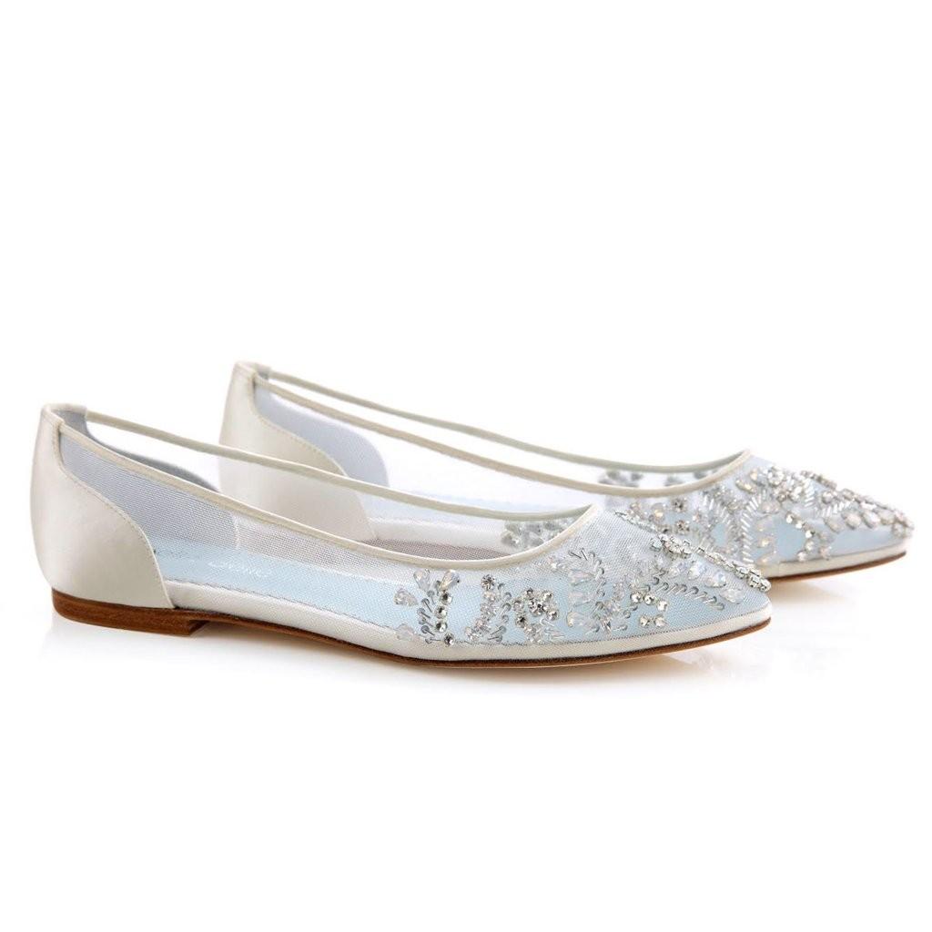 vintage flat wedding shoes photo - 1