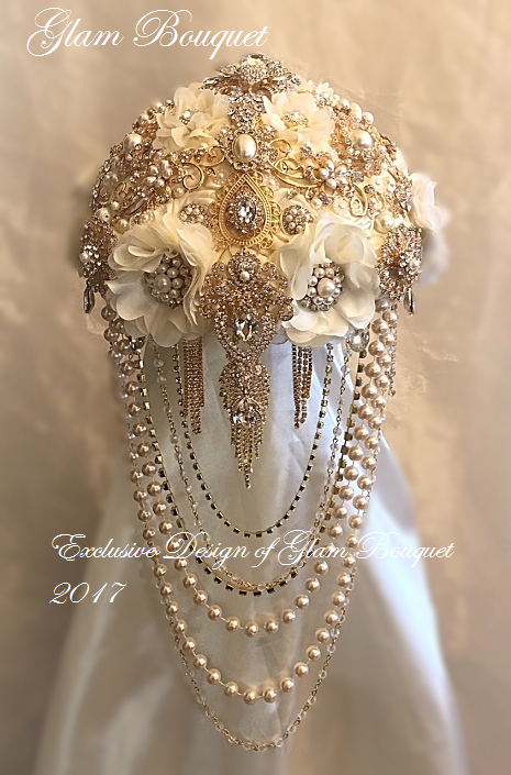 vintage jewelry wedding bouquets photo - 1