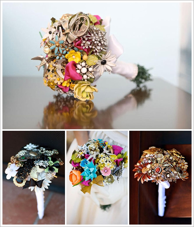 wedding bouquet fake flowers photo - 1
