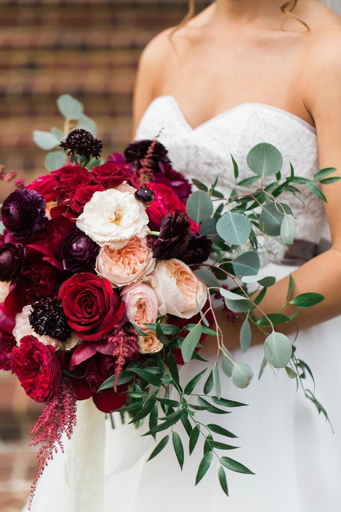 wedding bouquets burgundy photo - 1