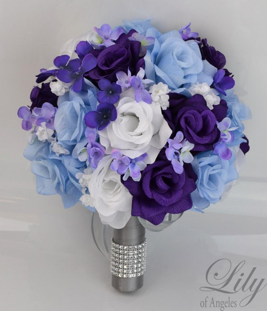 wedding bouquets with blue and purple flowers photo - 1