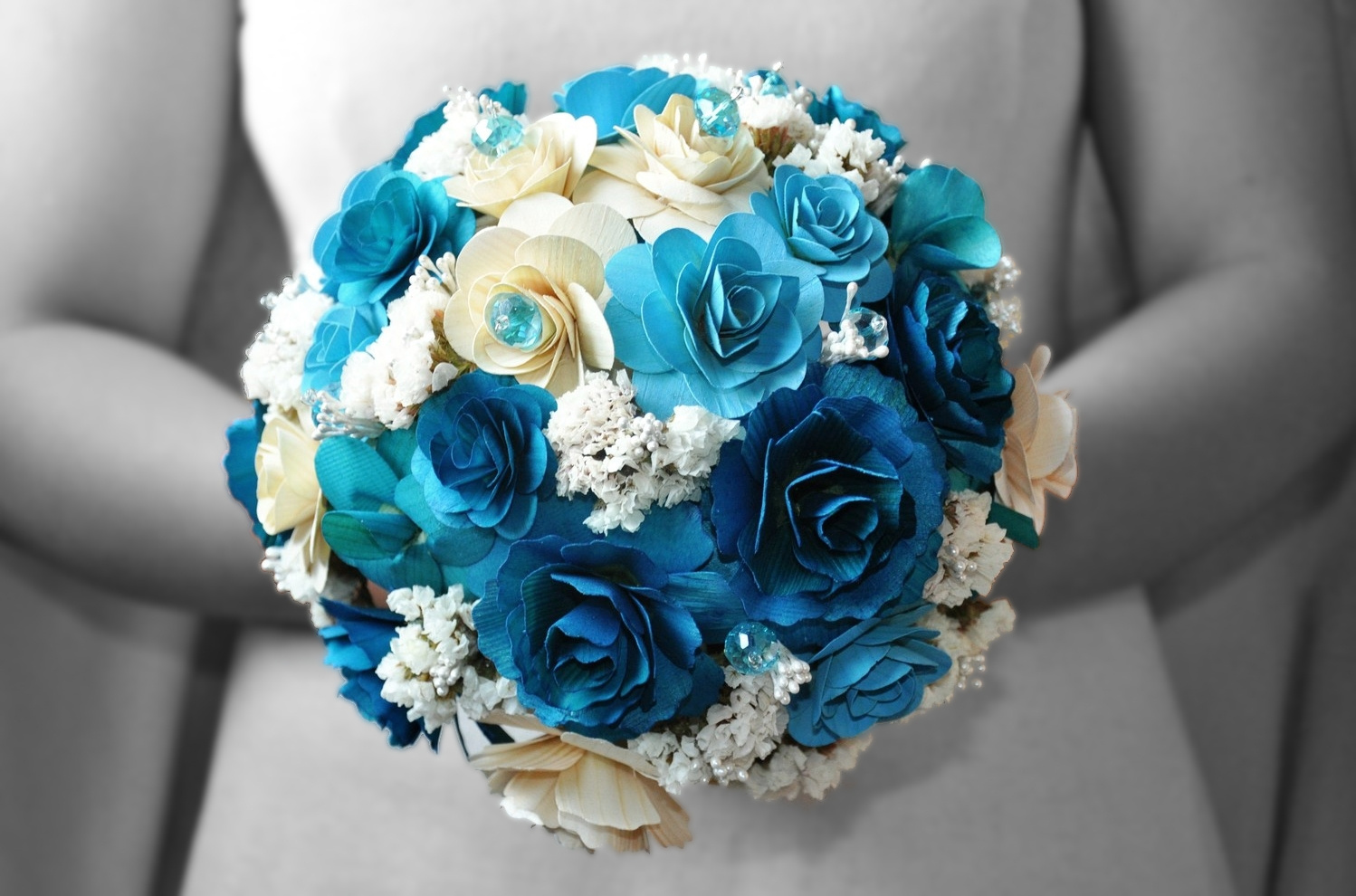 wedding bouquets with blue flowers photo - 1