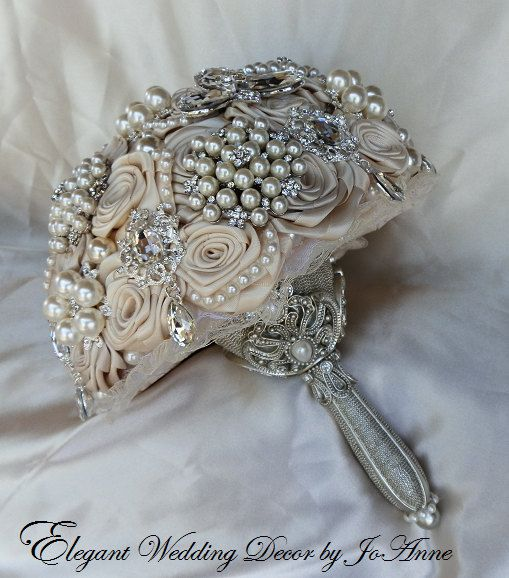 wedding bouquets with brooches and flowers photo - 1