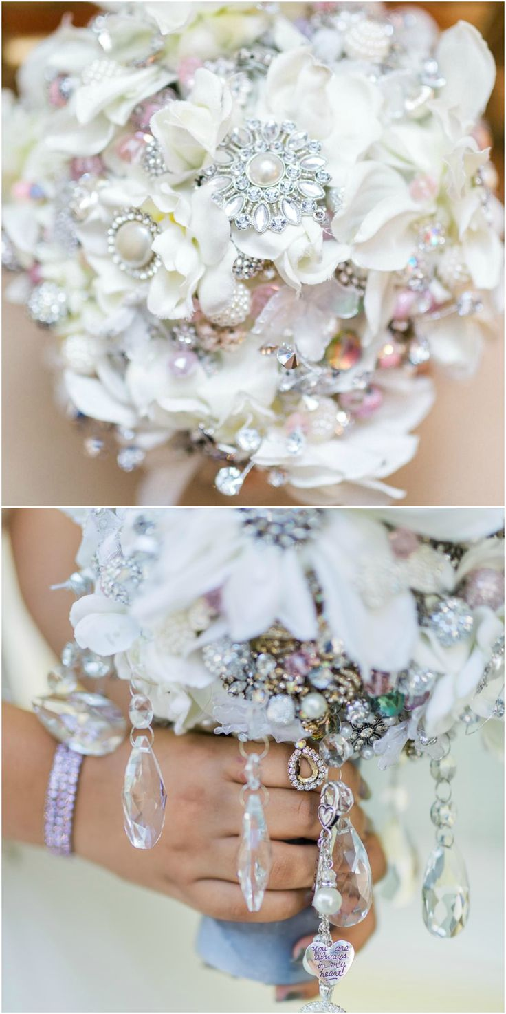 wedding bouquets with crystals photo - 1