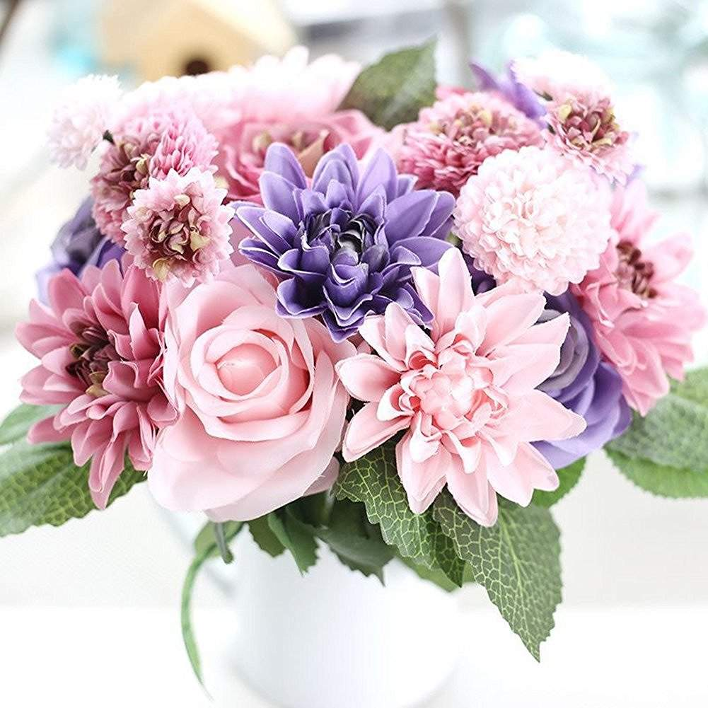 wedding bouquets with fake flowers photo - 1