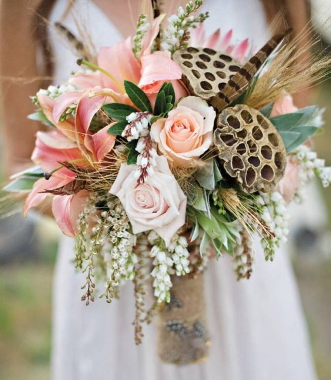 wedding bouquets with feathers photo - 1