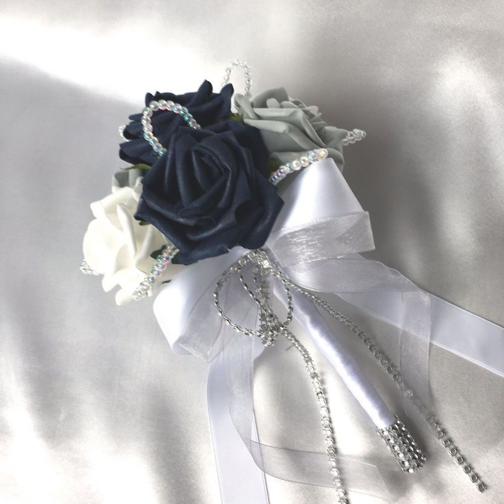wedding bouquets with navy blue photo - 1