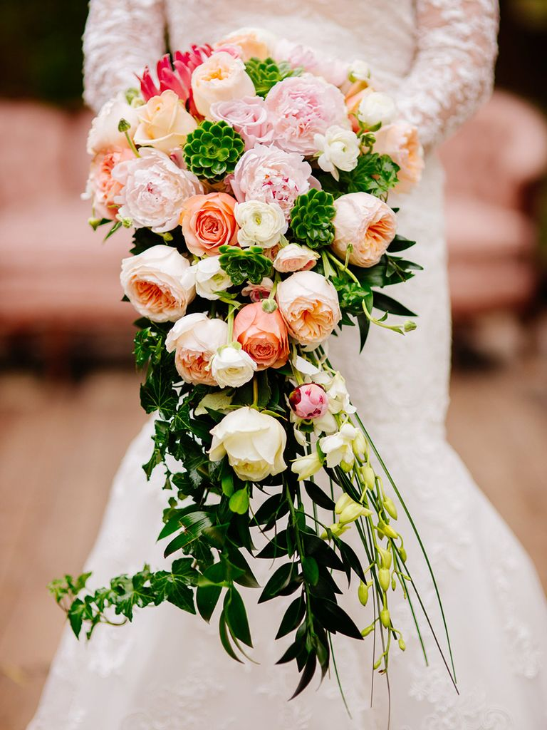 wedding cascade bouquets photo - 1