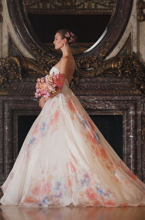 wedding dress with colored flowers photo - 1